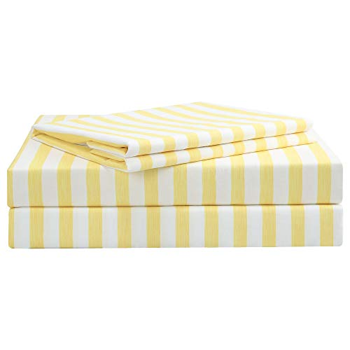 Best Season 4 Piece Stripe Bed Sheets Set Microfiber Stripe Bedding - Super Soft Luxury Hotel Deep Pocket,Stain, Fade & Wrinkle Resistant Bedding Set (Yellow,Queen Size)