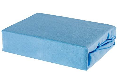 Kinder Baby Bettlaken Spannbettlaken 100% Baumwolle Jersey - 80/160 80x160 (Blau)