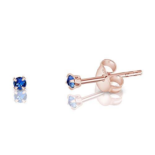 DTP Silver Semental Pendientes/Aretes de Plata de Ley 925 Chapado en Oro Rosa con Cristal Swarovski® Elements Minúsculo Redondo - Diámetro: 2 mm - Color: Zafiro Azul