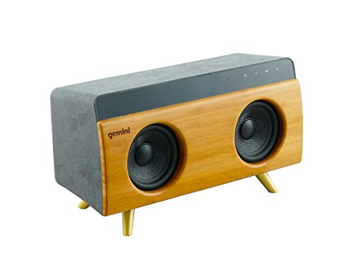 Gemini BRS-230 Portable Bluetooth Speaker 30W Stereo Sound with Built-in Mic and Battery, USB/SD Playback, 3.5MM Auxiliary Input, Wireless Speaker for Outdoors Travel and Home - Bamboo Finish