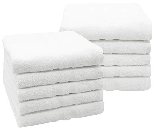 ZOLLNER 10er Set Handtücher, 50x100 cm, 100% Baumwolle, 450g/qm, weiß