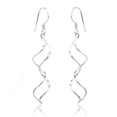 Ohrhänger Spirale silber - Silberschmuck Ohrringe Ohrschmuck Doppelspirale 7x47mm aus 925 Sterling Silber #SO-14
