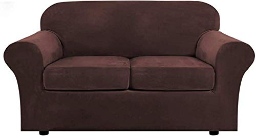 WLVG 1, 2, 3 Funda elástica para sofá de Sala de Estar, con 2 Fundas de cojín separadas, Funda para Muebles con Fondo elástico, Protector Antideslizante para Muebles (marrón, 2 plazas (122-172 cm