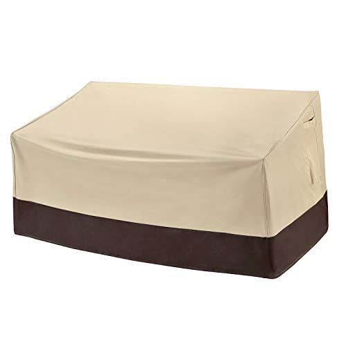 """Arcedo Patio Loveseat Cover, Heavy Duty Waterproof Outdoor Sofa Cover for 2-Seater Couch, Small Durable Lawn Furniture Bench Cover with Air Vent, 60"""" x 34"""" x 30"""", Beige & Brown"""
