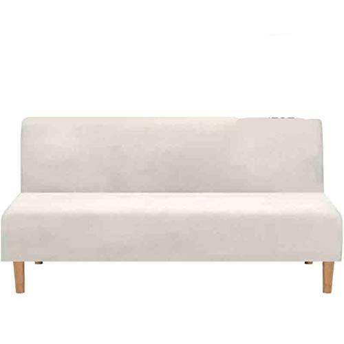 Funda de sofá Cama Plegable sin Brazos Jacquard para Sala de Estar Fundas de sofá elásticas Terciopelo elástico sin apoyabrazos Funda de sofá Tipo 2 Blanco Marfil, L 185-216CM