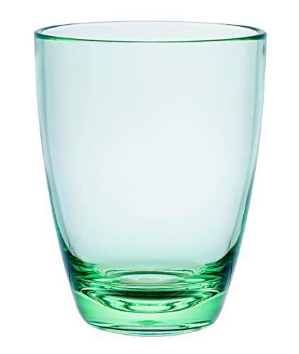 KLIFA- ETON series, Acrylic Tumbler Drinking Glasses Cups, Set of 6, BPA-Free, Stackable Drinkware, Dishwasher Safe, 15.2 oz, Green