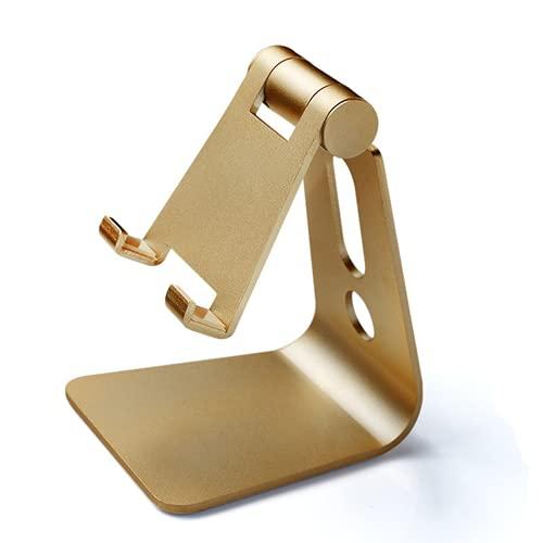 CAIER Soporte de aluminio ajustable para teléfono celular, soporte de escritorio, soporte para teléfono móvil, soporte para ángulo de altura ajustable, resistente de aluminio, metal tirano dorado