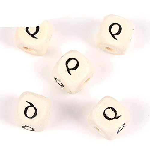 50-200 piezas de cuentas de alfabeto de letras de madera mixtas naturales cuentas espaciadoras sueltas para pulseras de bricolaje fabricación de joyas accesorios hechos a mano-10 mm letra Q, 50 pieza