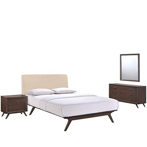 Modway Tracy Mid-Century Modern Wood Platform Queen Size Bed with a Nightstand, Mirror and Dresser in Cappuccino Beige