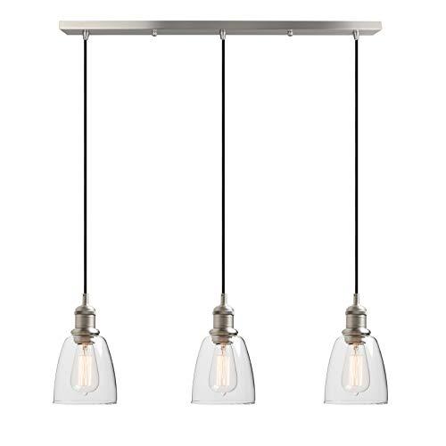 Yosoan Lighting Industrial Vintage Loft Bar 3 Way Pendant Light Fittings Bell Glass Shade Chandelier, Hanging Cluster Ceiling 3 Lights Fixture for Dining Room Living Room Restaurant Cafe (Brushed)