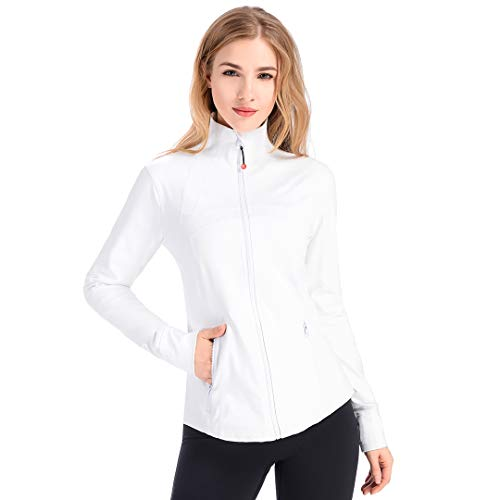 qualidyne Laufjacke Damen Sportjacke Trainingsjacke Voll Reißverschluss Yoga Workout Jacke mit Daumenloch und Seitentasche Fitness