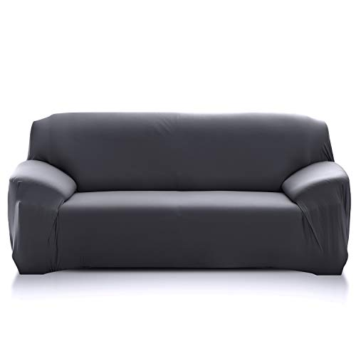 PETCUTE Sofabezüge Stretch Sofaschutz elastisch L-Form Sofa bezug ecksofa Sofabezug Sofaüberwürfe für L-Form Sofa Grau 3 Sitzer