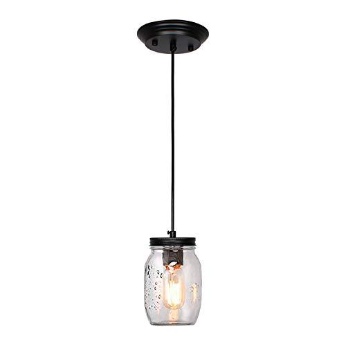 JHLBYL Glass Mason Jar Light Fixture, 1-Light Adjustable Farmhouse Kitchen Island Pendant Light Farmhouse Lamp for Kitchen Barn Farmhouse Diningroom