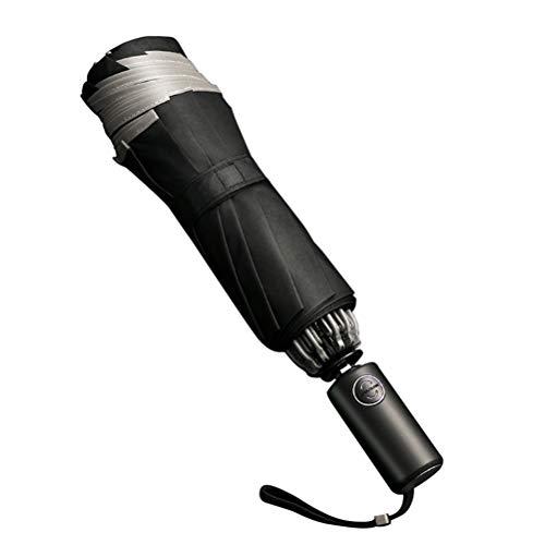 WUHUAROU Paraguas automático Plegable inverso para Negocios, Paraguas con Tiras Reflectantes, Paraguas de Lluvia para Hombres y Mujeres, Parasol Masculino a Prueba de Viento (Color : Black)