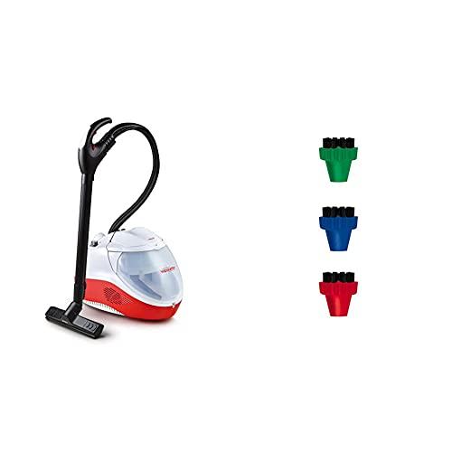 Polti Vaporetto Lecoaspira FAV50 - Generador de vapor y aspiración con filtro de agua, 2450 W, 1.8 litros + Polti PAEU0296 Kit 3 cepillos pequeños de colores con cerdas de nylon para Vaporetto