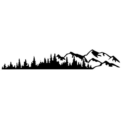 KKmoon Adesivo per Auto, Adesivi Grafici Universali in Vinile con Alberi di Montagna, Decalcomanie per Finestrini per Camper, Roulotte, Auto, Camion, Nero