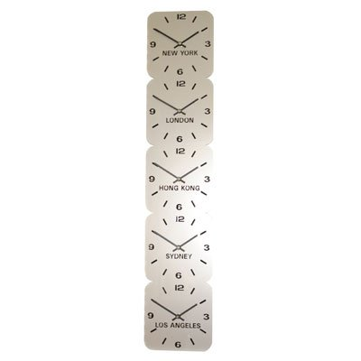 Horloge Acrylique Fuseaux Horaires Argent de Roco (H15cm x L75cm 5 Fuseaux Vertical)