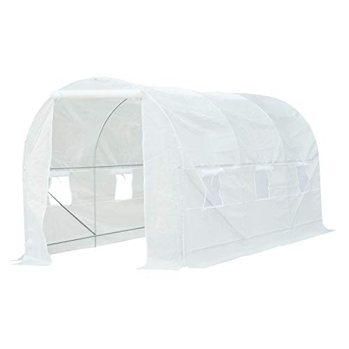 Photo of Outsunny 4.5 x 2 x 2 m Large Galvanized Steel Frame Outdoor Poly Tunnel Garden Walk-In Patio Greenhouse – White