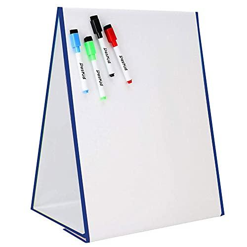 Pizarra Blanca magnética Plegable Triángulo Pizarra Blanca autoportante Niños DIY Escritura Pintura Pizarra Blanca Pizarra magnética borrada en seco - Azul