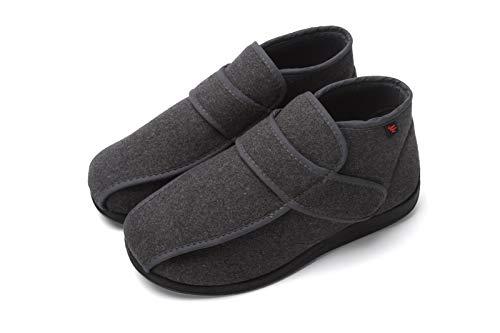 Los zapatos ortopédicos for los hombres en forma de bota ampliación hallux valgus pies ancho grasa yeso ajustables deslizadores del invierno correa autoadhesivas Fleece Artritis Edema Hinchazón House