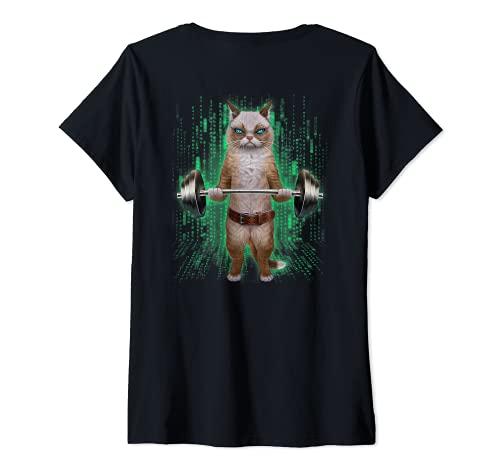 Mujer Levantamiento de pesas de gato ragdoll en el gimnasio Camiseta Cuello V