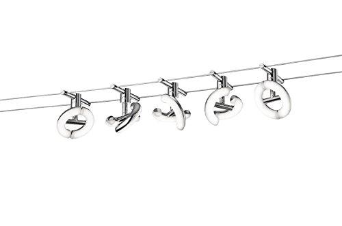 Trio Leuchten LED Seilsystem Avignon 777710506, Metall, Kunststoff chromfarbig / weiß, 5 x 4.1 Watt