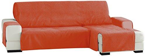 Eysa Fundas de Sofa Prácticas, Chaise Longue 240 cm, Derecha Vista Frontal, Tela, Naranja, Tres Plazas