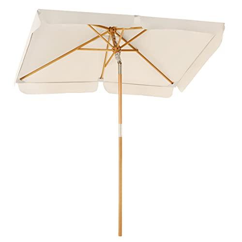 SONGMICS Sonnenschirm für den Balkon, 200 x 125 cm, rechteckiger Balkonschirm, Sonnenschutz bis UPF 50+, Schirmmast, Schirmrippen aus Holz, knickbar, ohne Ständer, Garten, Outdoor, beige GPU26BE