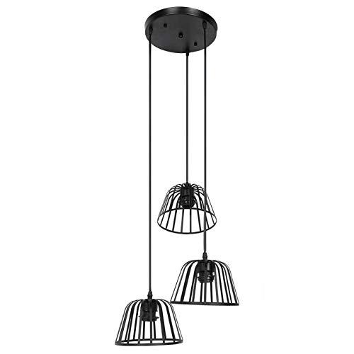 Fishawk Candelabro, lámpara de Techo Industrial Ajustable con certificación CE con Cable de Campana de luz de caída de Hierro con Ventosa para Comedor, Sala de Estar, Hotel, Bar, cafetería