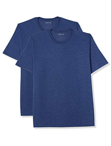 Amazon Essentials Men's Big & Tall 2-Pack Short-Sleeve Crewneck T-Shirt fit by DXL, Navy Heather, 2X