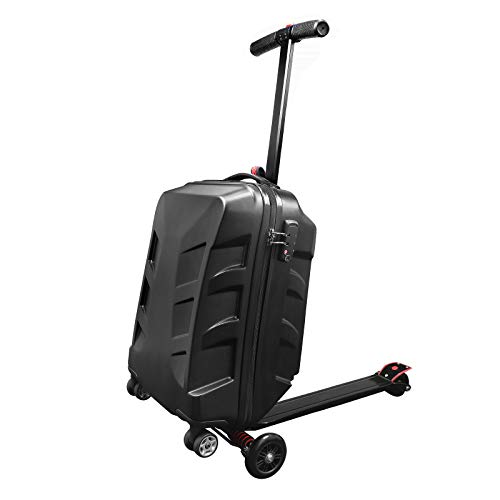 Snowtaros 21  Foldable Luggage Scooter, Suitcase Scooter, Skateboard Rolling Luggage for Adults, TSA Lock, Suitable for Airport Travel Business School (US Stock)(Black)