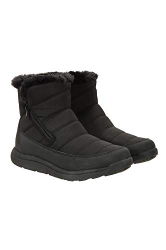 Mountain Warehouse Womens Fleece Lined Boots -Snowproof Ladies Shoes Black Womens Shoe Size 10 US