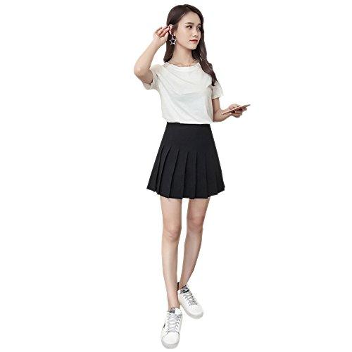 KINDOYO Nueva Falda Plisada Corta de Cintura Alta para Mujer, Negro/XS