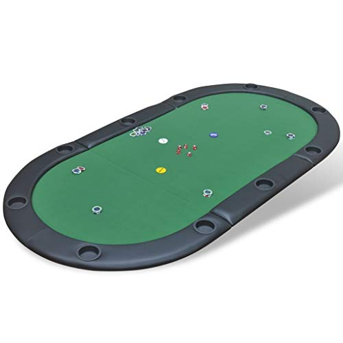 Festnight- Tablero de Póker para 10 Jugadores Plegable Verde 208 x 107...
