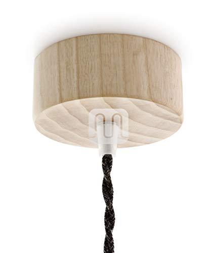 Baldachin | Abzweigdose | Verteilerdose zur Kabelabdeckung Ihrer Deckenlampe | Lampenkappe in holz zylinder ø 100mm - h 32mm inkl Zugentlastung | Lampenbaldachin für alle Lampen geeignet