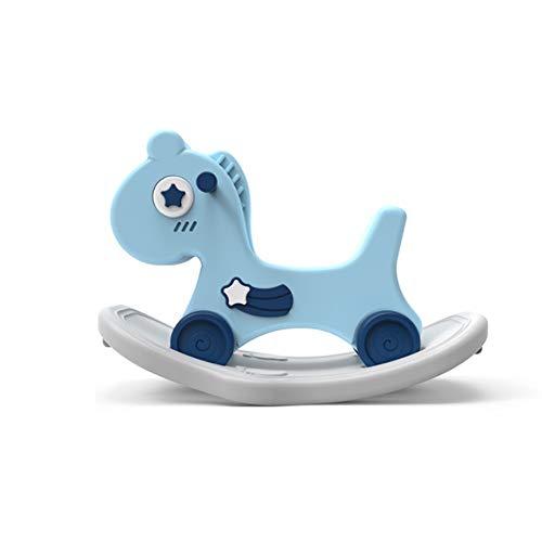 Lihgfw Baby Rocking Pferd Trojan multifunktionale Kinder schaukeln Auto Spielzeug Geburtstagsgeschenk Baby zweizweck schaukelstuhl (Color : Blau)