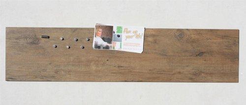 Magnettafel/Magnetboard in Holz-Optik: Eiche Cognac, Pinnwand aus Vinyl mit Stahl-Rückseite, 100cm x 22,5cm
