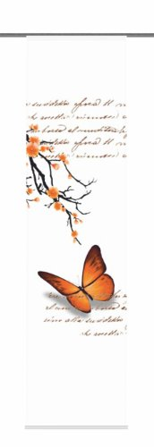 Home Fashion 87616-775 Schiebevorhang Digitaldruck Butterfly, Dekostoff, 245 x 60 cm, orange