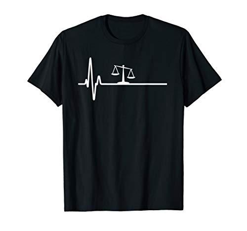 Herzschlag EKG Jurastudenten Rechtsanwalt Paragraph Waage T-Shirt