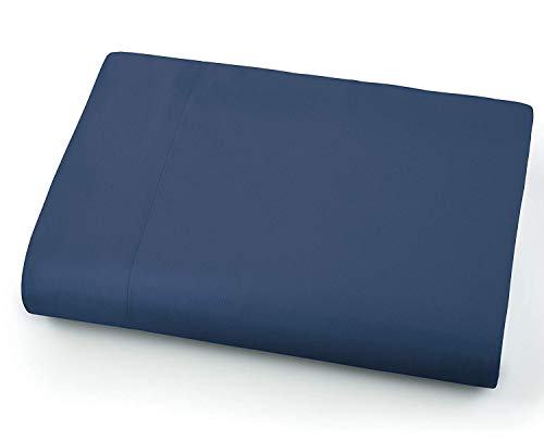 Idea Linen Flat Sheet Only - 600-Thread-Count Top Sheet - Best Premium Quality Sheet on Amazon - Luxury Soft 100% Cotton Sateen Weave Bedding, Lightweight and Breathable Navy Twin/Twin XL Size