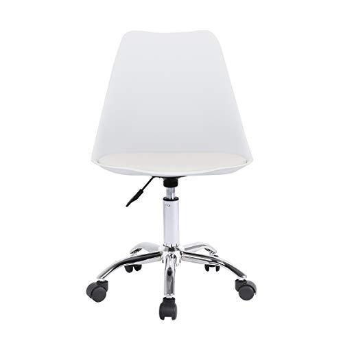 Schreibtischstuhl mit Sitzkissen Weiß Bürostuhl Ohne Armlehne Arbeitshocker Drehstuhl Rollhocker Computerstuhl Office Chair Höhenverstellbar (Weiß)