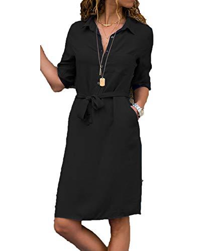 kenoce Bluse Damen Langarmshirt Longshirt V-Ausschnitt Dreiviertelarm Shirt Kleid mit Gürtel Elegant Blusenkleid Herbstkleid Tunika A-Schwarz S