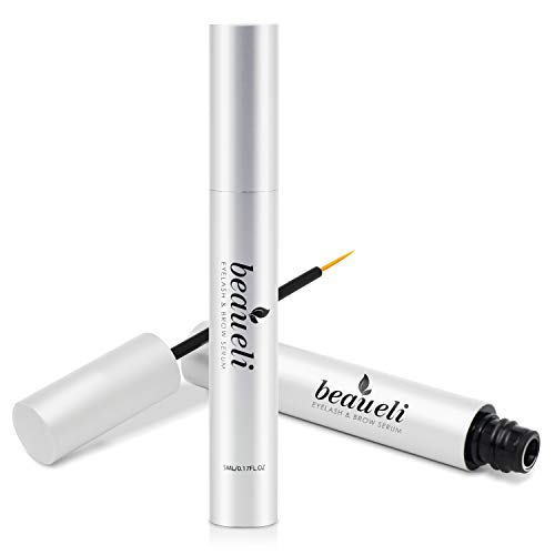 Beaueli Eyelash Growth Serum 5ML- Premium Castor Oil for Longer, Thicker, Healthy, Fuller Eyelash & Eyebrow, Hypoallergenic Natural Eyelash Enhancer Growth Booster Treatment, Dermatologist Certified