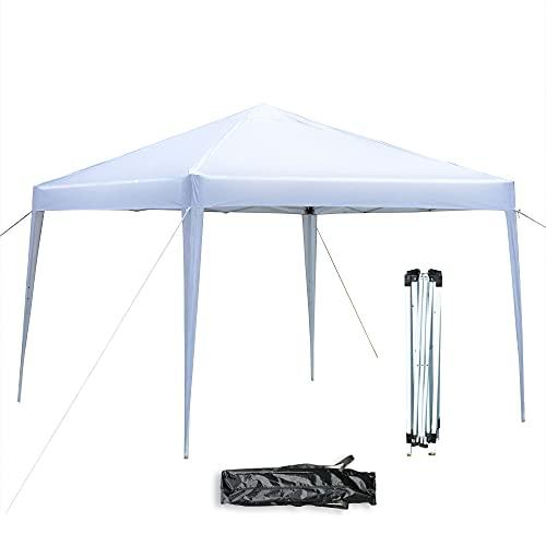 Tonnelle de Jardin Pliante 3x3m, Tente Réception Pliante Imperméable avec Sac de Transport pour Camping Festival Plage Jardin - Blanc