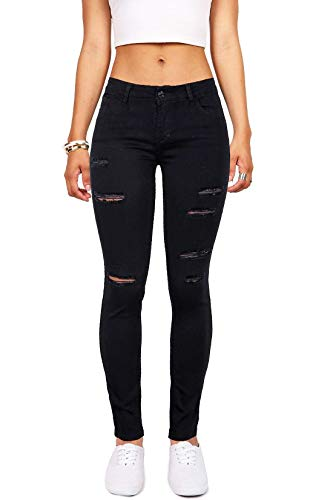 Women's Casual Ripped Holes Skinny Jeans Jeggings Straight Fit Denim Pants (US 10, Black 16)