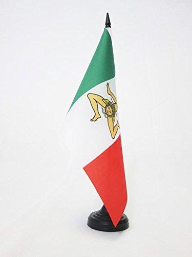 AZ FLAG TISCHFLAGGE UNABHÄNGIGKEITSREGIERUNG VON SIZILIEN 1848 21x14cm - SIZILIEN NATIONALISTEN TISCHFAHNE 14 x 21 cm - flaggen