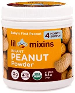 Lil Mixins Early Introduction Peanut Protein Powder for Infants & Babies, Stop Peanut Allergies Before They Start, Easily Add to Baby Food, 0g of Sugar, 4 Month Supply