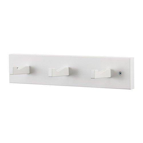 Ikea KUBBIS Leiste mit 3 Haken; in weiß; aus Massivholz