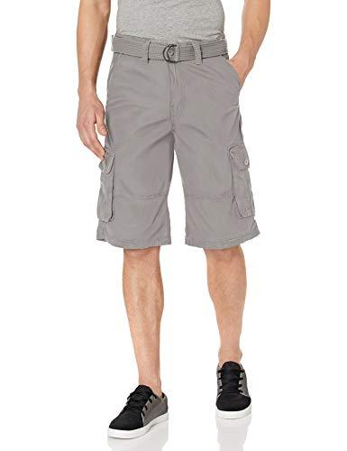 Southpole Men's All-Season Belted Ripstop Basic Cargo Short, Light Grey/New, 32