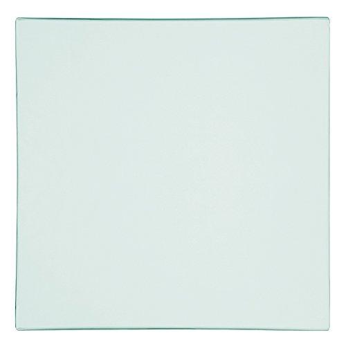 H&H Assiette Plate satinée, Forme carrée, en céramique, Transparent, 25 x 25 x 2 cm